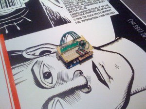 "The ShakyPOV ""shield"" mounted on the Arduino."